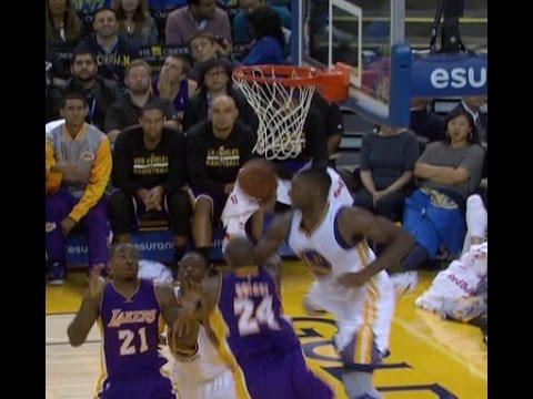 Kobe Bryant hits circus shot (Los Angeles Lakers at Golden State Warriors)