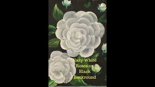 How to paint White Roses on a Black Backround Part 1 Easy Acrylic Painting for Beginners