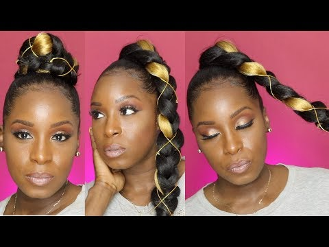 (3) SLEEK JUMBO BRAID PONYTAIL Styles on Natural Hair