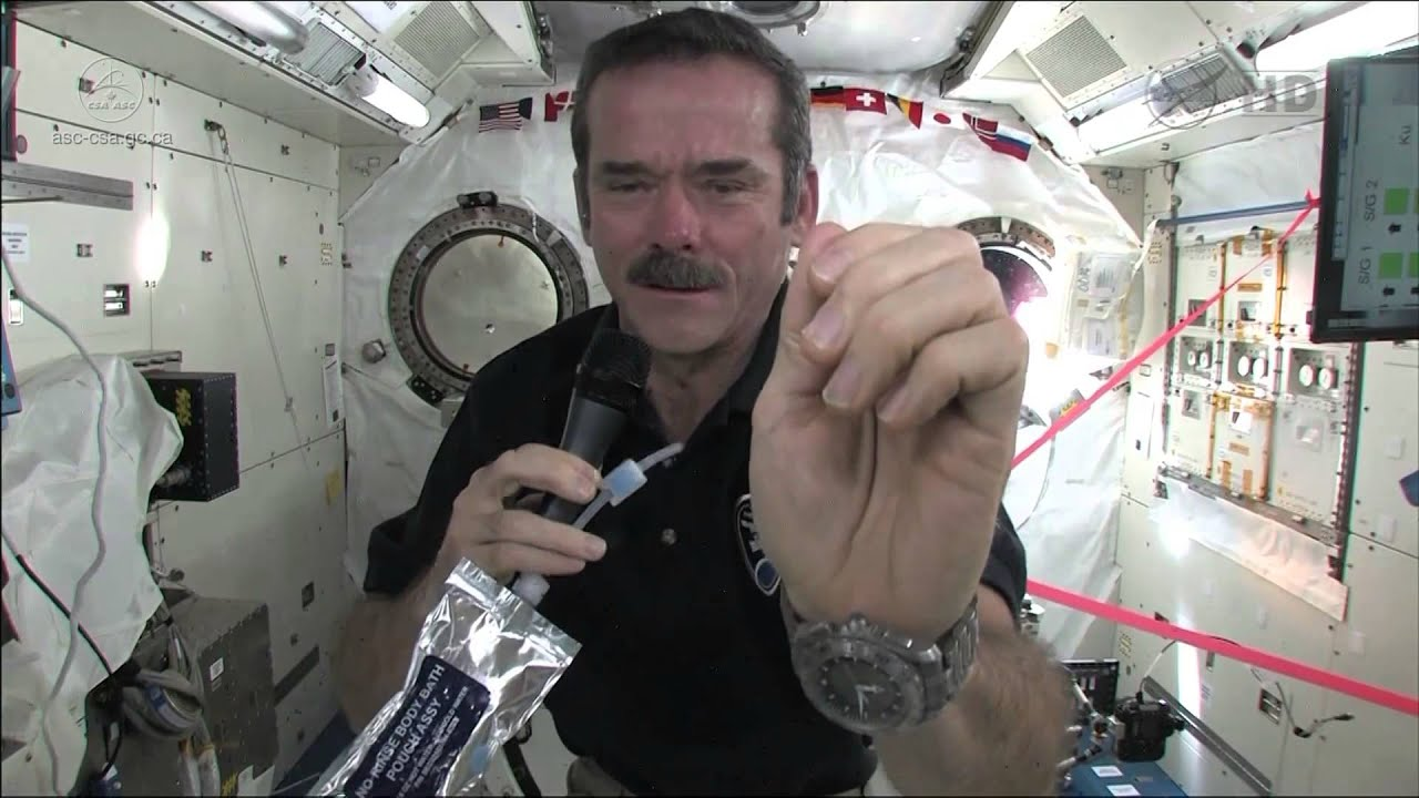 Chris Hadfield Demonstrates How Astronauts Wash Their