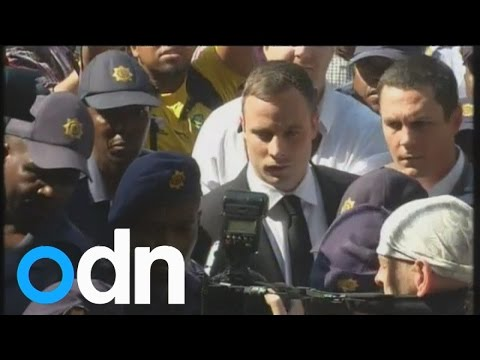 Oscar Pistorius arrives to hear his sentence after Reeva murder trial