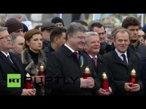 Ukraine: Watch as Poroshenko LAUGHS during Maidan prayers