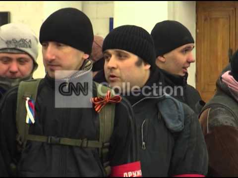 UKRAINE:PRO-RUSSIA TROOPS AT TRAIN STATION