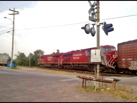 Canadian Pacific Ethanol Train Leaving Amtrak Station Pb,Mo 5/29/2012 ES44AC #8881,8762