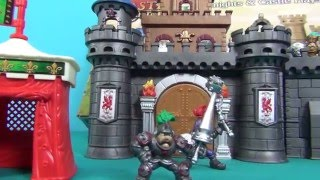 Unboxing plays set toy castle of adventures. Playing with toys knights and dragon in the castle