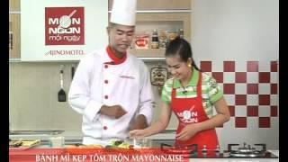 Cách làm Bánh mì kẹp tôm trộn Mayonnaise