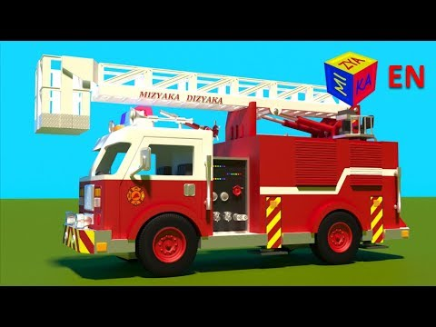 Fire truck responding to call - construction game cartoon for children