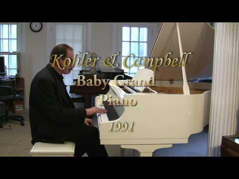 White Gloss Baby Grand Piano Kohler & Campbell, Mint 4'8