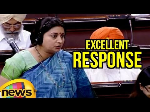 Smriti Irani Excellent Response To Questions Posed By Opposition In Rajya Sabha | Mango News