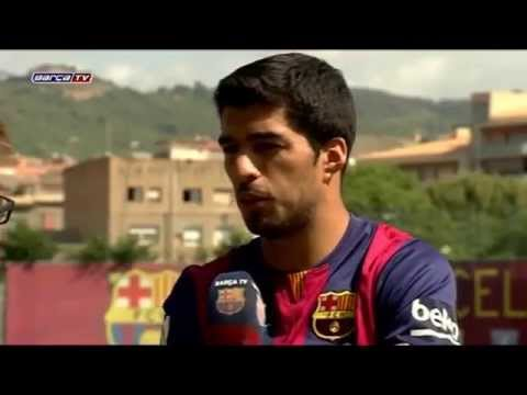 Luis Suárez first Training and Interview at Barcelona