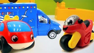 Toy cars and trucks for kids. Video for children.
