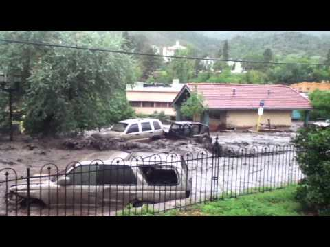 Manitou Springs flood footage, August 9th 2013