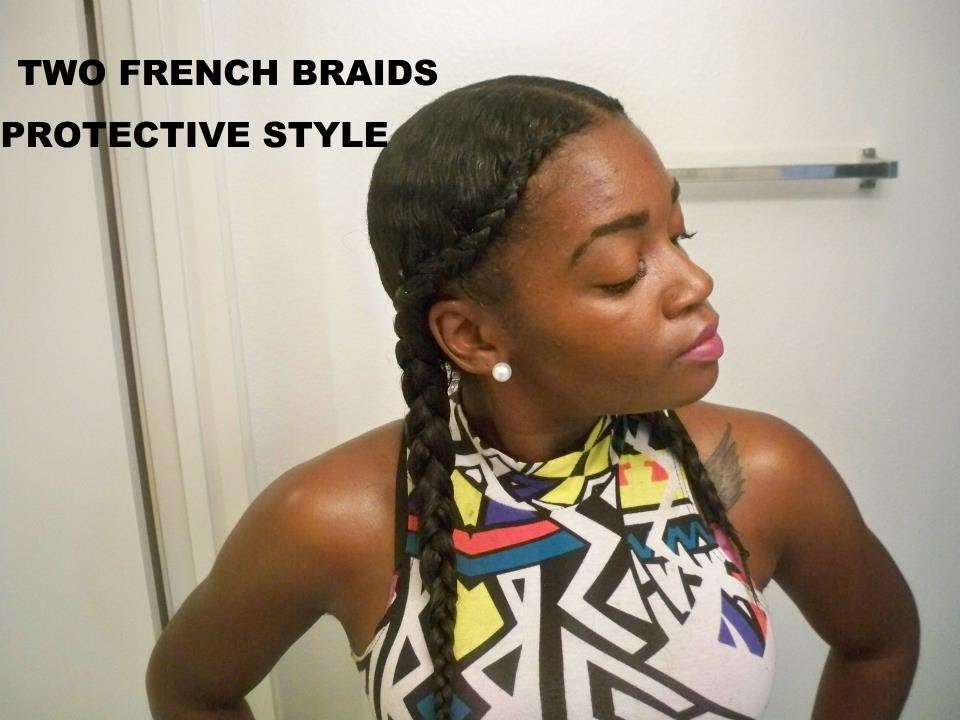 Two French Braids Protective Style - YouTube