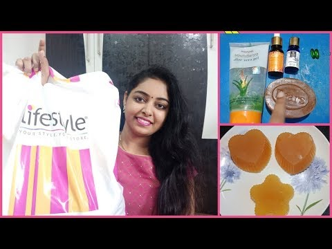 Lifestyle shopping haul in Telugu||Homemade Aloe Vera soap for skin glowing & anti tan removal