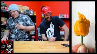 WE ATE THE PEACH REAPER! | The World's Hottest Pepper?