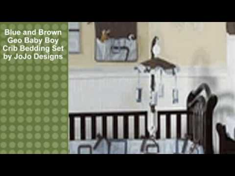 0 Blue and Brown Geo Baby Boy Crib Bedding Set by JoJo Designs