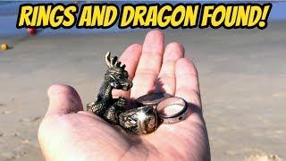 Beach Treasure - Found 2 Rings and a Dragon Beach Metal Detecting