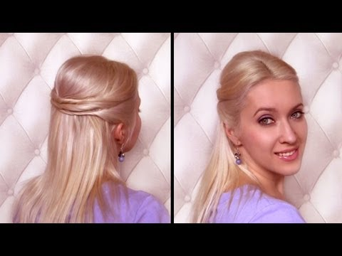 Easy half updo hairstyle for medium hair Вечерние прически своими руками
