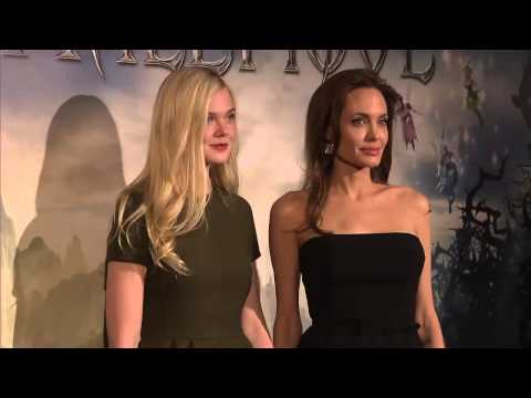 Maleficent: Angelina Jolie & Elle Fanning Fashion Shots at Paris France Press Conference