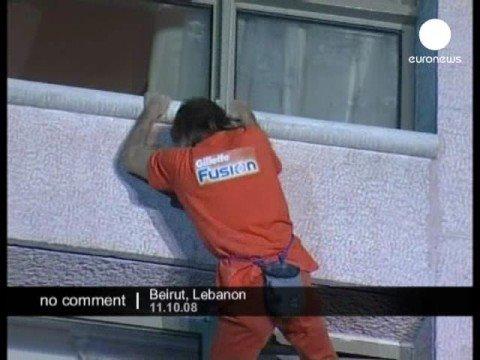 Spiderman climbing a hotel in Beirut, Lebanon.