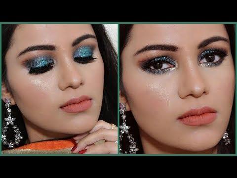 EID Makeup Tutorial 2017 In HINDI| Glittery Green Smokey Eye
