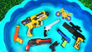 Colorful Guns Toys Videos for Kids - Toys review and learning name and sounds Bikes and Guns Toys