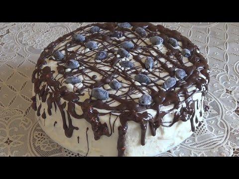 Бисквитный торт. Творожный крем для торта. #domavkusno