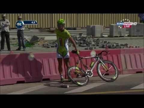 First reaction of a real winner after his crash - Peter Sagan Dubai Tour 2014