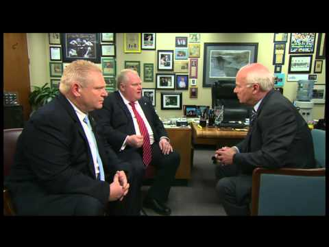 Peter Mansbridge sits down with embattled Toronto Mayor Rob Ford and his brother, Councillor Doug Ford, following a vote from Toronto city council to strip t...