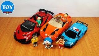 đồ chơi Doremon - cảnh sát Nobita bắt Chaien và Xeko thi đua xe điều khiển từ xa