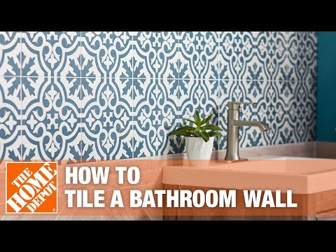 how to tile a bathroom wall the home depot youtube. Black Bedroom Furniture Sets. Home Design Ideas