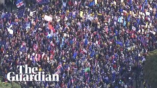 Aerial footage shows scale of march for second Brexit referendum in London