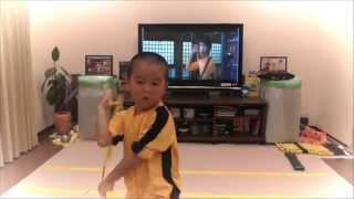 my son acting Bruce Lee