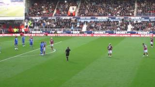 Manuel Da Costa with one of the worst free kicks you'll ever see a West Ham United player take