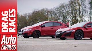 Honda NSX vs Civic Type R drag race: hot Honda family feud