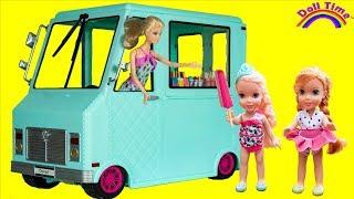 ICE CREAM Truck! ELSA & ANNA Toddlers & Barbie -ICE CREAM everywhere -Runaway Truck -Yummy cake