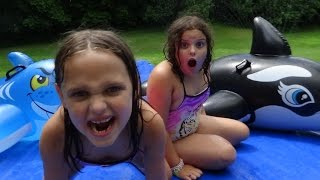 "Giant Slip N Slide Party ""Toy Freaks Family Fails"" Victoria Annabelle Freak Daddy"