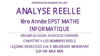 EXERCICES ANALYSE 1ERE ANNEE CHAPITRE1 LECON4