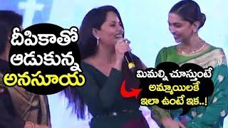 Anchor Anasuya SUPER FUN with Deepika padukone at Social Media Summit | Filmylooks