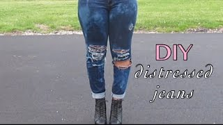 DIY Distressed Ripped Jeans