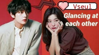 A short clip taehyung and seulgi secretly glancing at each other | vseul pt. 2 real moments