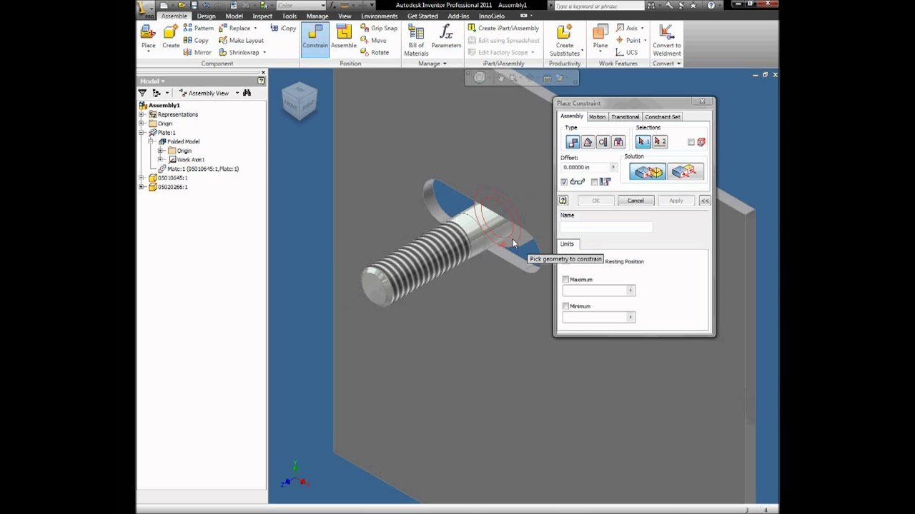 Autodesk Inventor 2011 Slot Axis Tutorial - YouTube
