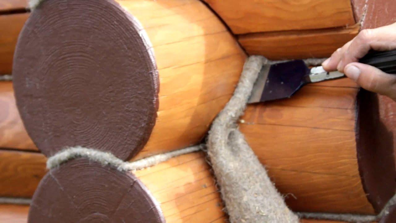 Отделка сруба джутовым канатом своими руками