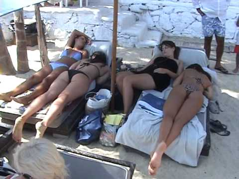 MYKONOS 2009 BEACHES ELIA,PSAROU,PARANGA POOL BAR
