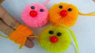 DIY Pom Pom Cat, Very Easy Wool Trick, Pom Pom Cat, DIY Craft, Crafts & Embroidery