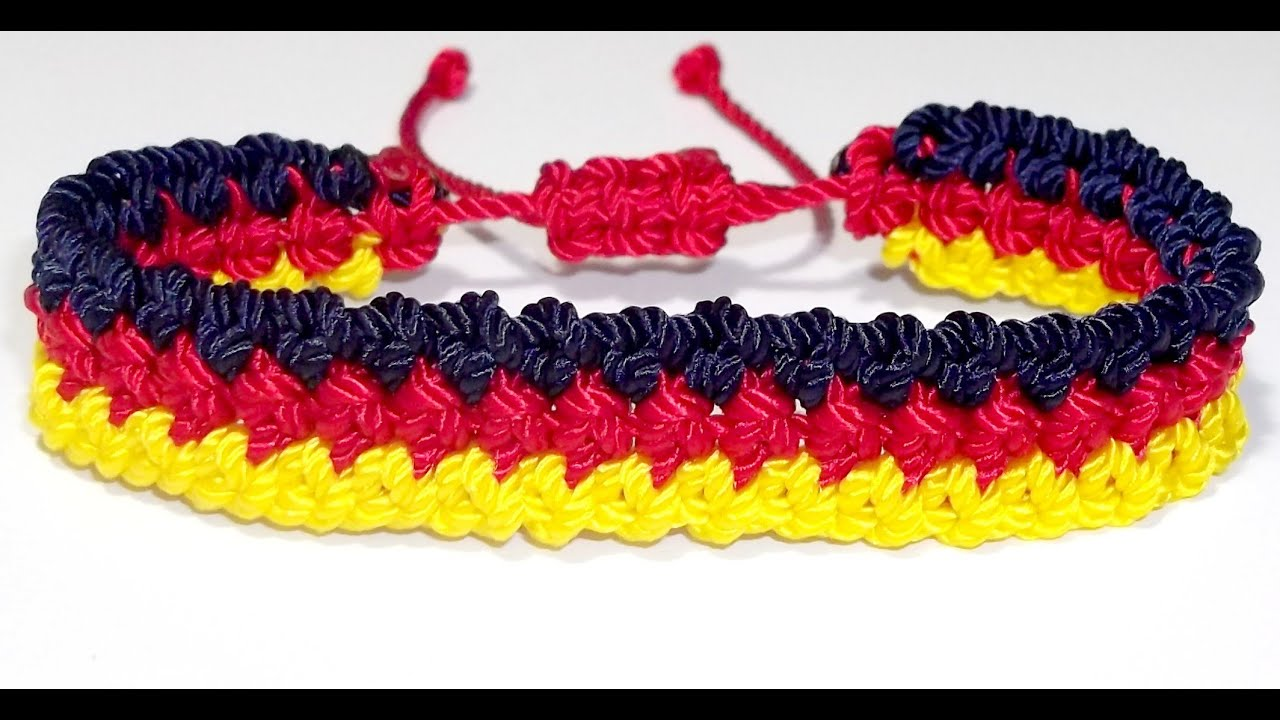 Como hacer pulsera ajustable plana de tres colores para - Como hacer colores ...