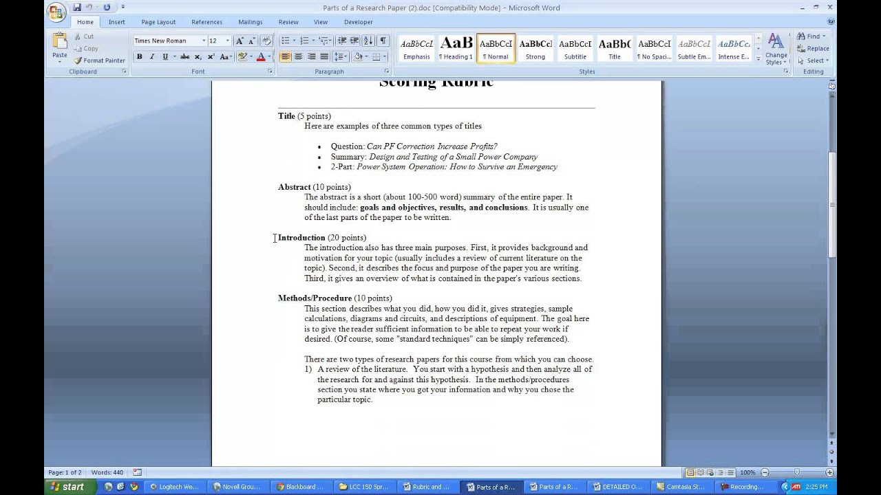 what is research paper format