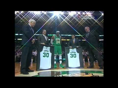 Mike & Tommy receive commemorative Celtics jerseys