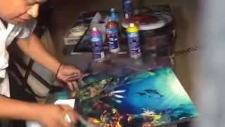 Coral reef spray paint art