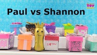 Paul vs Shannon Gift Ems Doll Figure Challenge Toy Review Opening | PSToyReviews